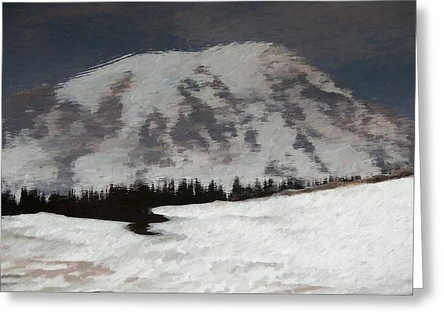 Mount Rainier Reflection In Spring Greeting Card