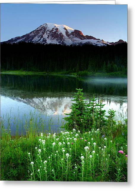 Mount Rainier Reflections Greeting Card by Eric Foltz