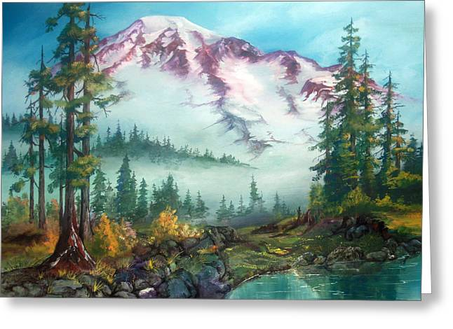 Greeting Card featuring the painting Mount Rainier by Sherry Shipley
