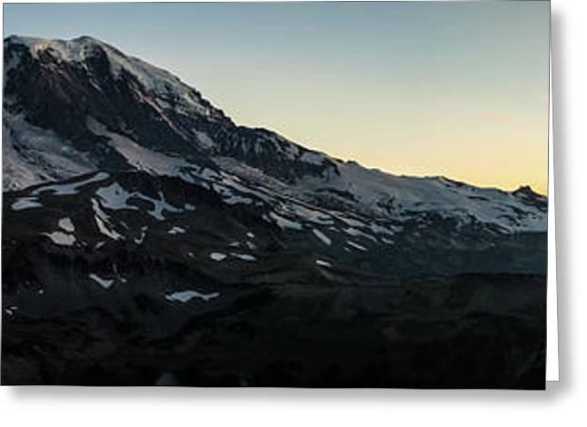 Mount Rainier Sunset Light Panorama Greeting Card by Mike Reid