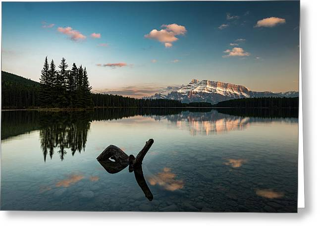Mount Rundle And Two Jack Lake Greeting Card