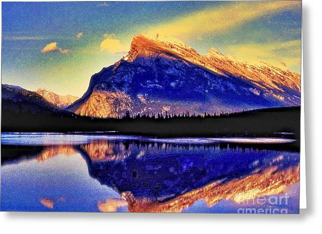 Mount Rundle Reflection Greeting Card by Lyle  Huisken