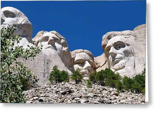 Mount Rushmore Close Up View Greeting Card
