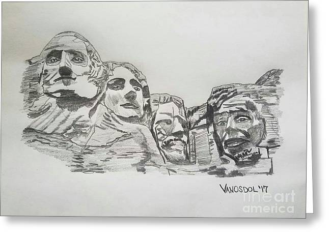 Mount Rushmore Graphite Pencil Sketch Greeting Card by Scott D Van Osdol