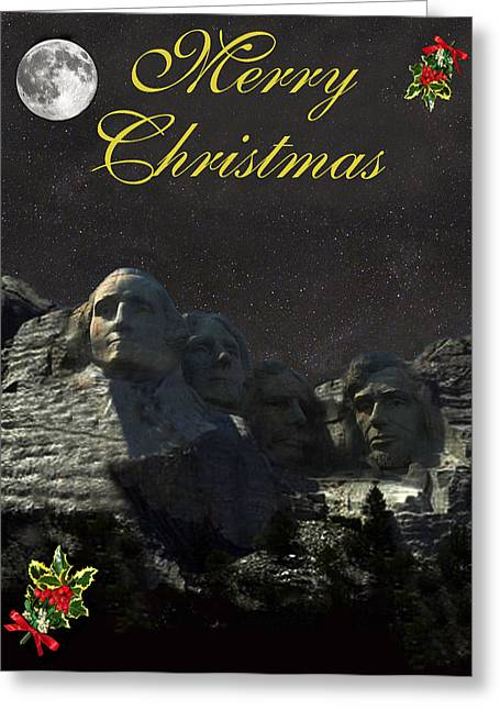 Occasion Mixed Media Greeting Cards - Mount Rushmore Merry Christmas Greeting Card by Eric Kempson