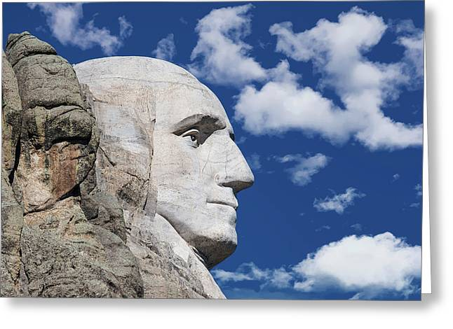 Mount Rushmore Profile Of George Washington Greeting Card