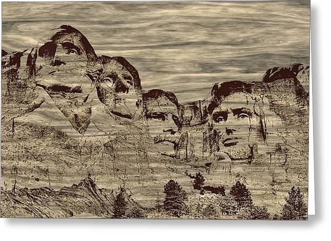 Mount Rushmore Woodburning Greeting Card by John M Bailey