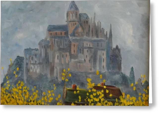 Greeting Card featuring the painting Mount Saint Michael by Rod Ismay