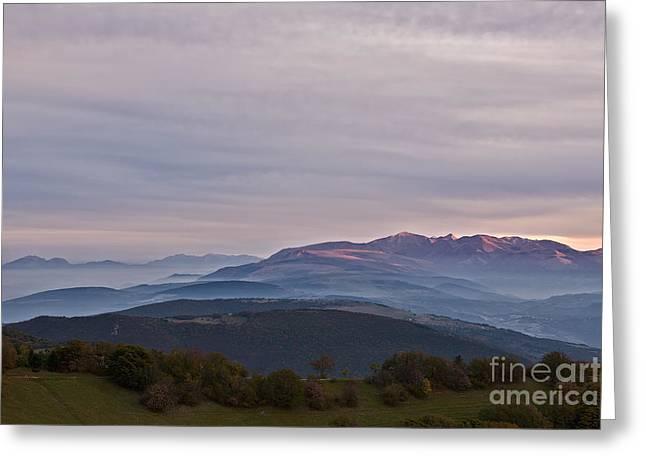 Mount San Vicino At Dusk, Italy Greeting Card