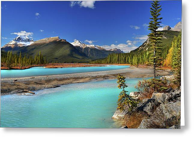 Greeting Card featuring the photograph Mount Saskatchewan by John Poon