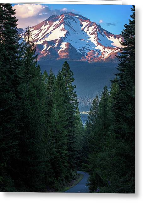 Greeting Card featuring the photograph Mount Shasta - A Roadside View by John Hight