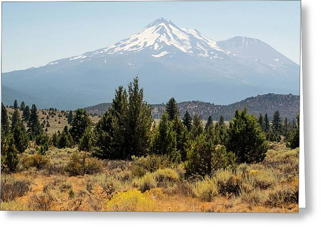 Greeting Card featuring the photograph Mount Shasta And Shastina by Frank Wilson