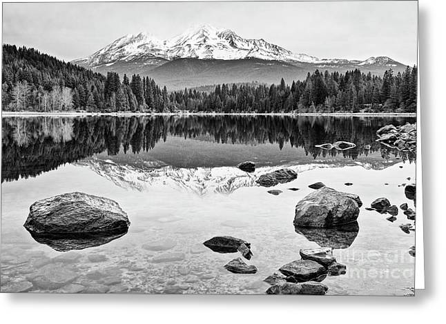Mount Shasta From Lake Siskiyou In California Greeting Card by Jamie Pham
