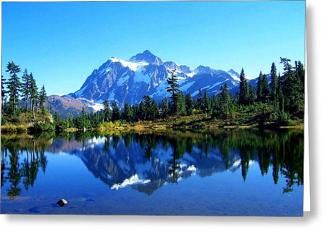 Lynn Bawden Greeting Cards - Mount Shuksan and Picture Lake Greeting Card by Lynn Bawden