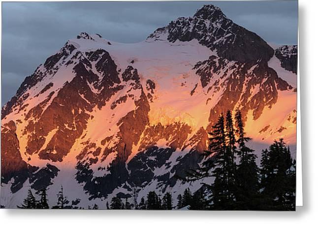 Mount Shuksan Brilliant Alpenglow Greeting Card by Mike Reid