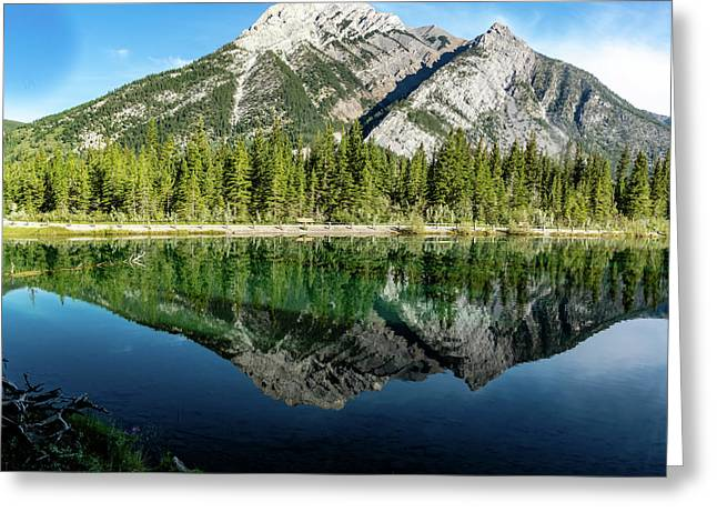 Mount Skogan Reflected In Mount Lorette Ponds, Bow Valley Provin Greeting Card
