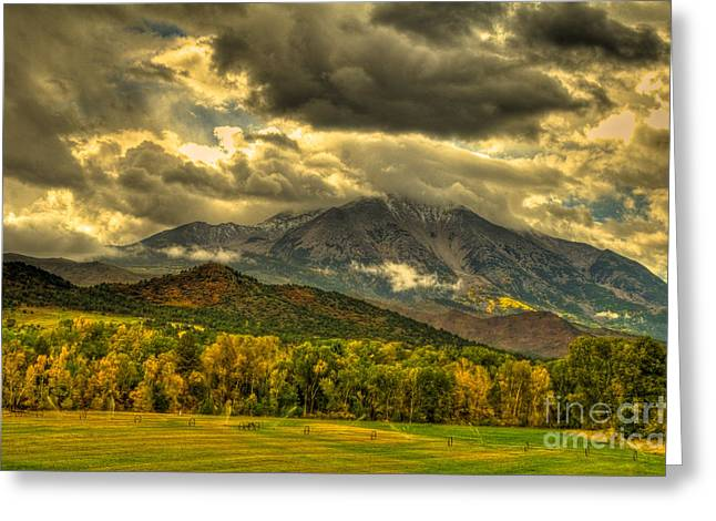 Mount Sopris Fall Morning After A Clearing Storm Greeting Card