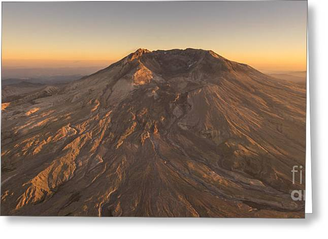 Mount St Helens Aerial Dusk Greeting Card