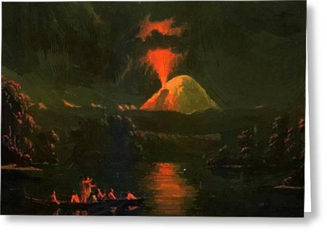 Mount St Helens Erupting At Night Greeting Card