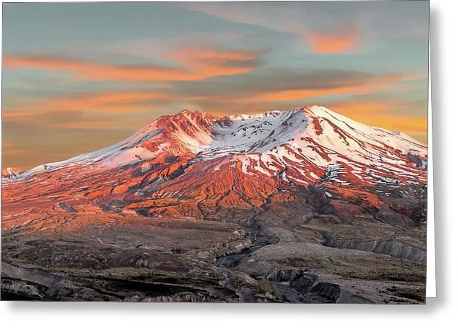 Mount St Helens Sunset Washington State Greeting Card
