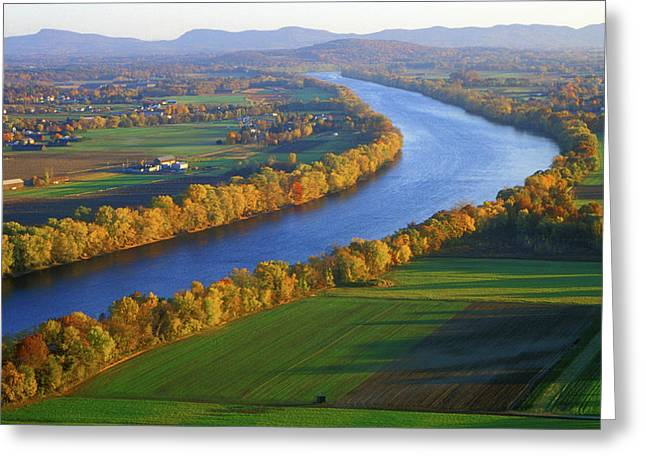 Deerfield River Greeting Cards - Mount Sugarloaf Connecticut River Greeting Card by John Burk
