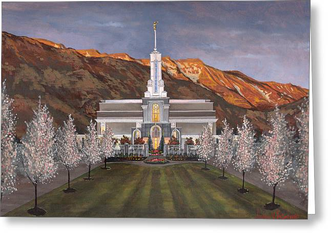 Mount Timpanogos Temple Greeting Card by Jeff Brimley