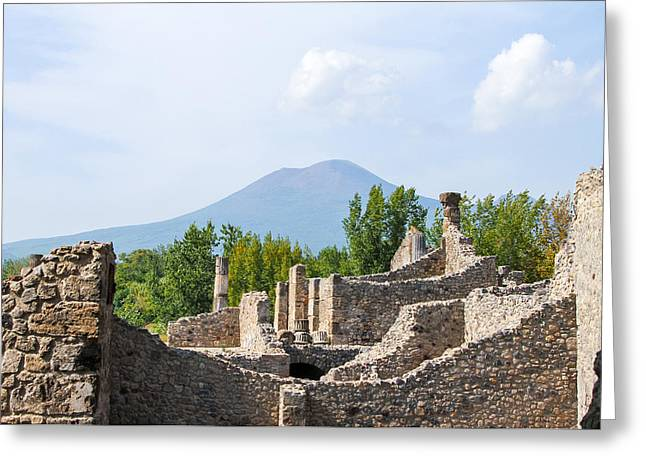 Mount Vesuvius Beyond The Ruins Of Pompei Greeting Card