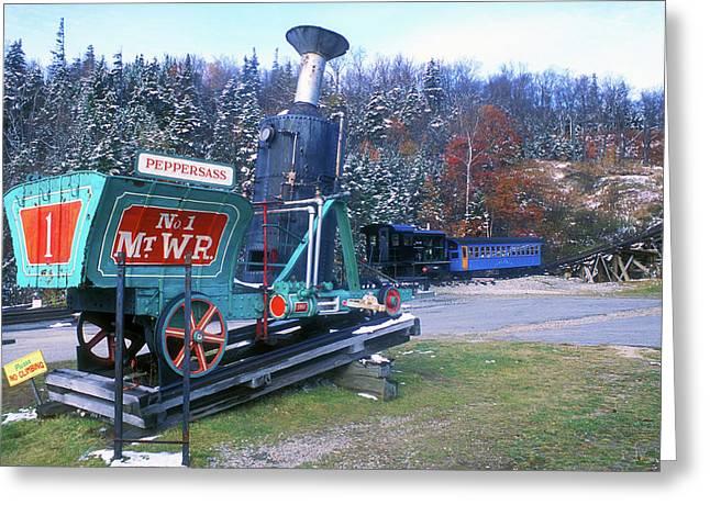 Mount Washington Cog Railway Greeting Card by John Burk