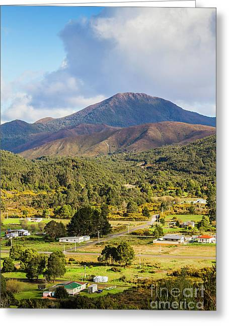 Mount Zeehan Valley Town. West Tasmania Australia Greeting Card by Jorgo Photography - Wall Art Gallery