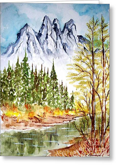 Mountain Alps Greeting Card by Carol Grimes