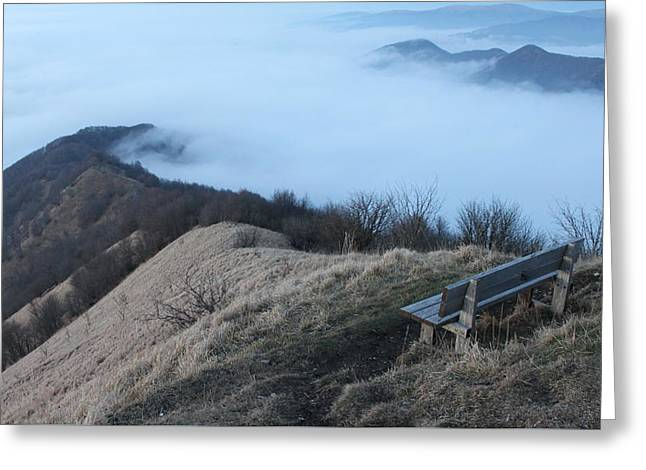 Mountain And Fog Greeting Card