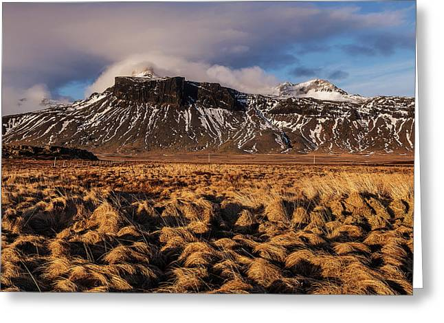 Mountain And Land, Iceland Greeting Card