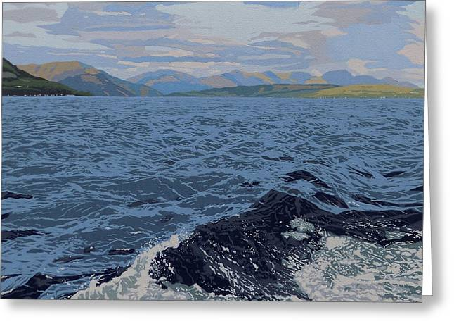 Mountain And Waves Greeting Card