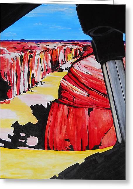 Best Sellers -  - Slickrock Greeting Cards - Mountain Bike Moab Slickrock Greeting Card by Susan M Woods