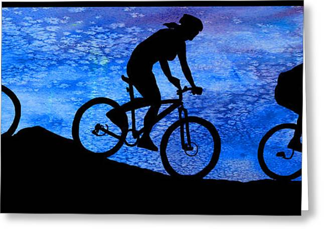 Mountain Bikers At Dusk Greeting Card
