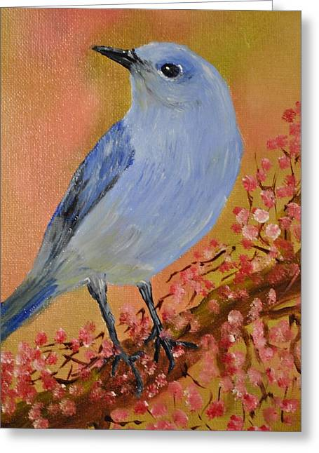 Mountain Blue Bird Greeting Card by James Higgins