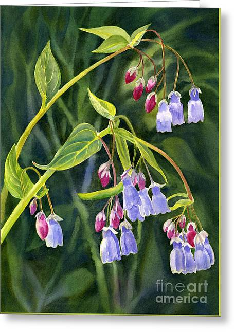 Mountain Bluebells With Background Greeting Card by Sharon Freeman