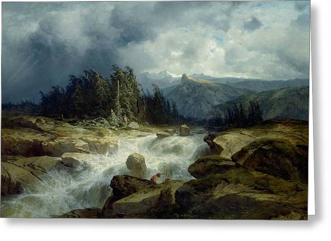 Mountain By Storm Torrent Greeting Card by Alexandre Calame