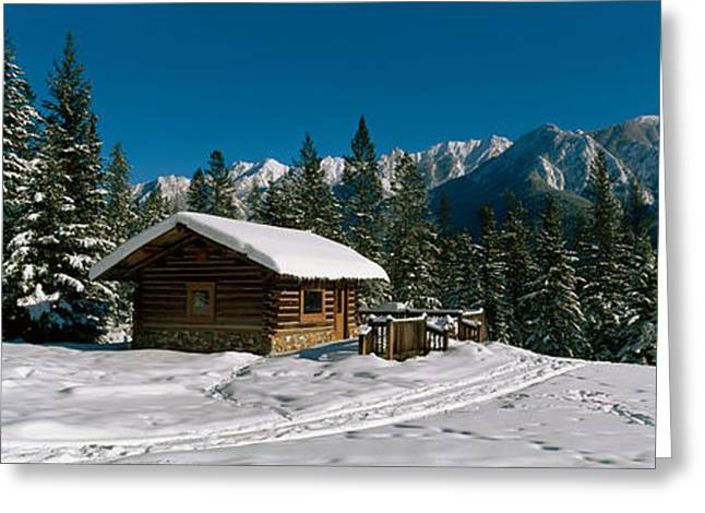 Mountain Cabin And Snow Covered Forest Greeting Card
