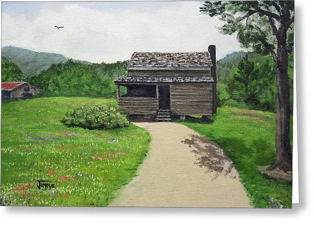 Greeting Card featuring the painting Mountain Cabin by Jimmie Bartlett