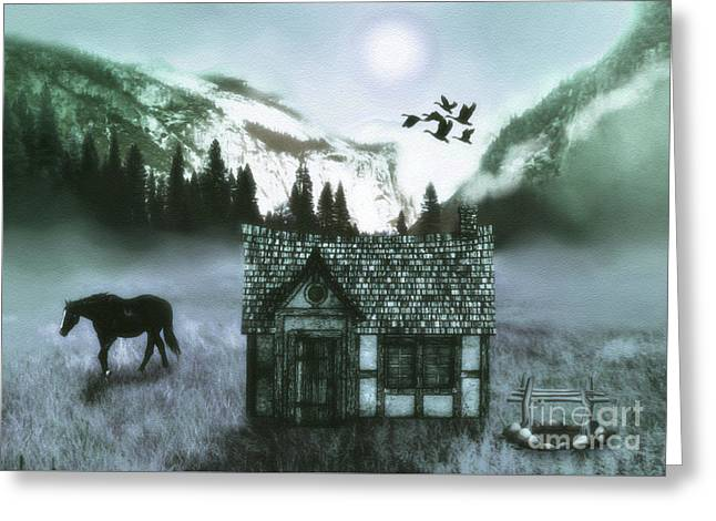 Mountain  Cabin Greeting Card by KaFra Art