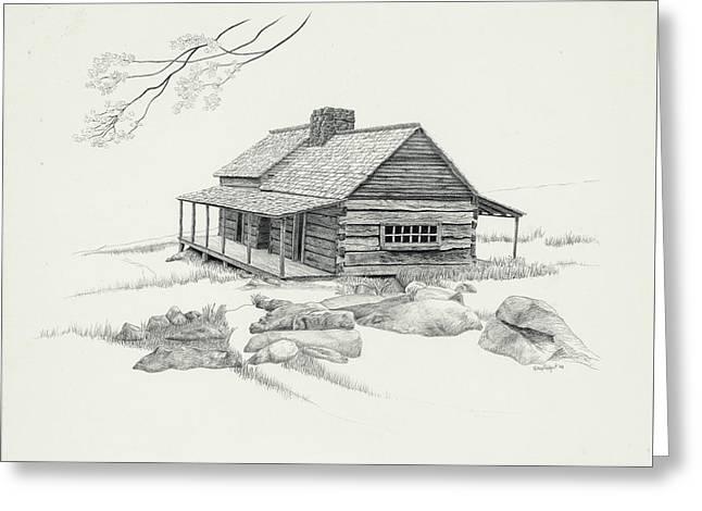 Mountain Cabin Greeting Card by Nancy Hilgert