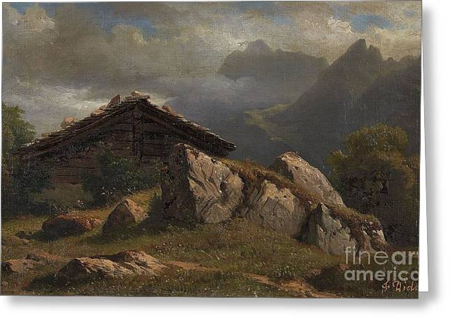 Mountain Cabin Near Frenieres Greeting Card by Celestial Images