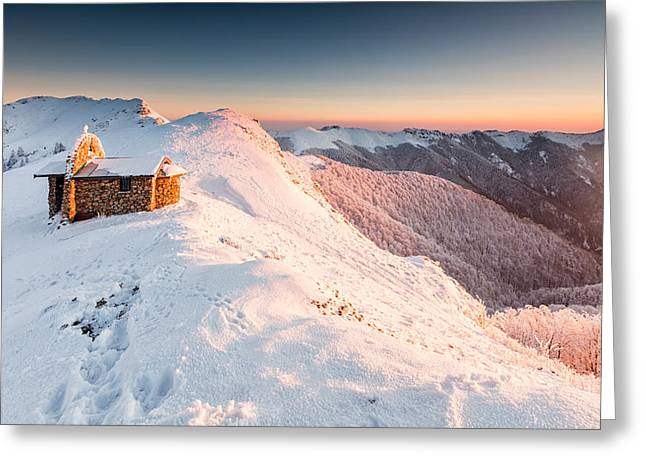 Mountain Chapel Greeting Card by Evgeni Dinev