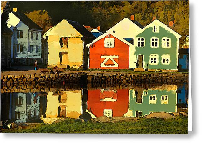 Greeting Card featuring the digital art Mountain Cottages Reflected by Shelli Fitzpatrick