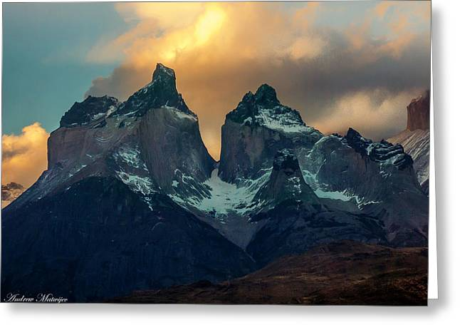 Mountain Evening Greeting Card by Andrew Matwijec