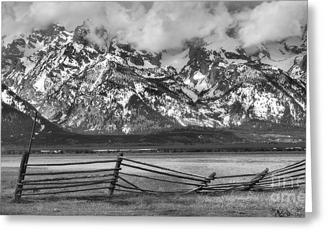 Mountain Fence Black And White Greeting Card
