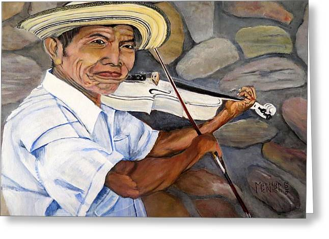 Mountain Fiddler Greeting Card by Marilyn McNish