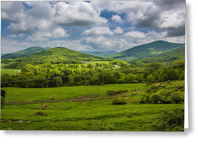 Mountain Field Of Greens Greeting Card