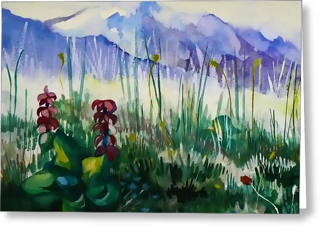 Mountain Flowers Greeting Card by Anastasia Michaels